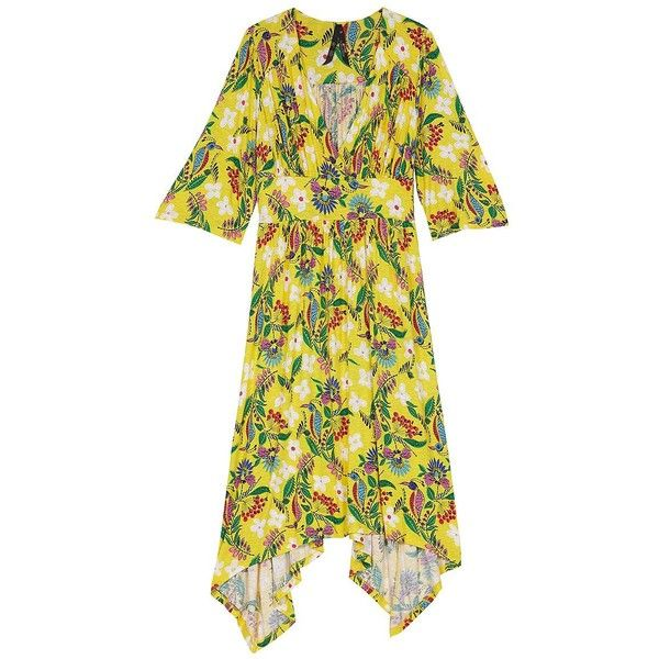 Melissa Mccarthy Seven7 Women's Floral Print Dress ($52) ❤ liked on Polyvore featuring plus size women's fashion, plus size clothing, plus size dresses, yellow, ruched dress, 3/4 sleeve dresses, surplice dress, floral printed dress and 3 4 length sleeve dress