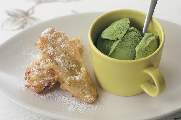 Banana Fritters With Green Tea Ice-cream Desserts Recipe #greentea #tea