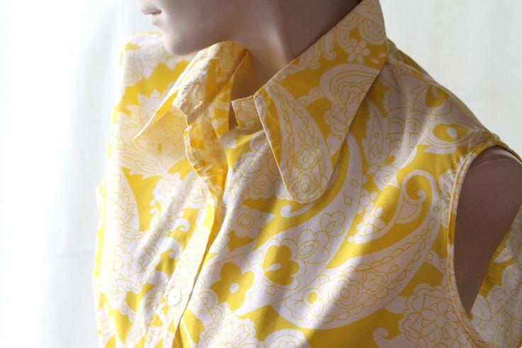 60er, 70 er Original Vintage Bluse gelb weiß Gr 38 von Avantgarde-Plus auf DaWanda.com