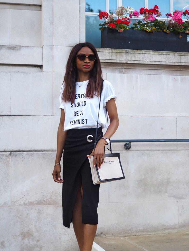 dior-logo-t-shirt-we-all-should-be-feminist-t-shirt-dior-dior-feminist-shirt-balenciaga-canvas-bag-black-midi-skirt-wrap-skirt