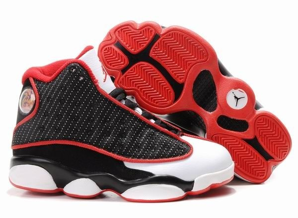 Fitted For Air Jordan Retro 13 Kids Shoes Black/White/Red 1004