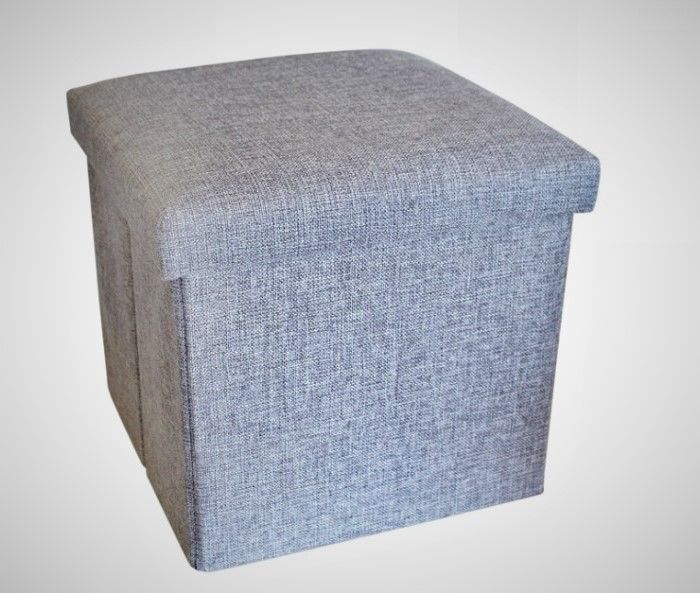 #Living #Room #Grey #Pouffe #Fabric #Bedroom #Footstool #Cube #Seat #Large #Storage #boxing