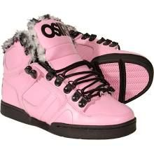 Osiris Shoes Womens Pink Fur NYC 83 Boots Skate Trainers New Hi Tops Nyc83 Shoe