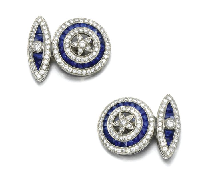 And they are your birthstone, bud. Pair of sapphire and diamond cufflinks | #Fabergé | circa 1900