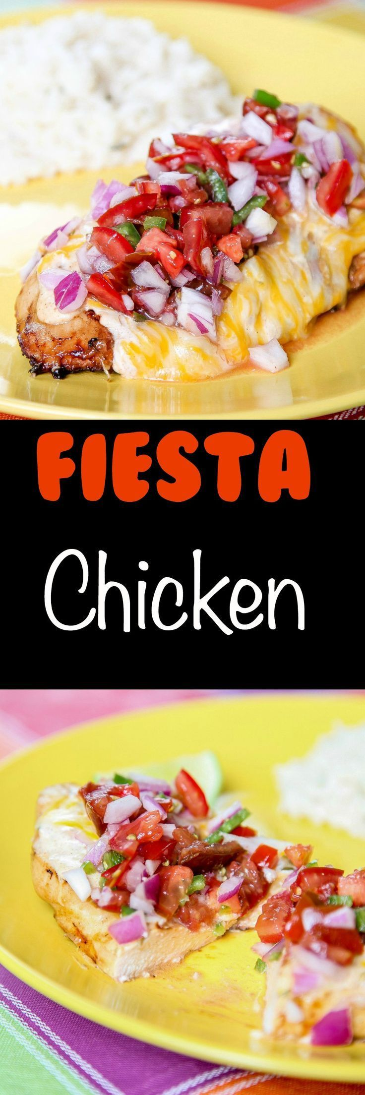 Fiesta Lime Chicken (Applebees Copycat): Juicy chicken topped with melty cheese and spicy pico. The most delicious thing you can do with chicken in 30 minutes!