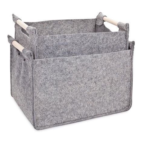Grey Basket with Wooden Handle | ZARA HOME Norge / Norway