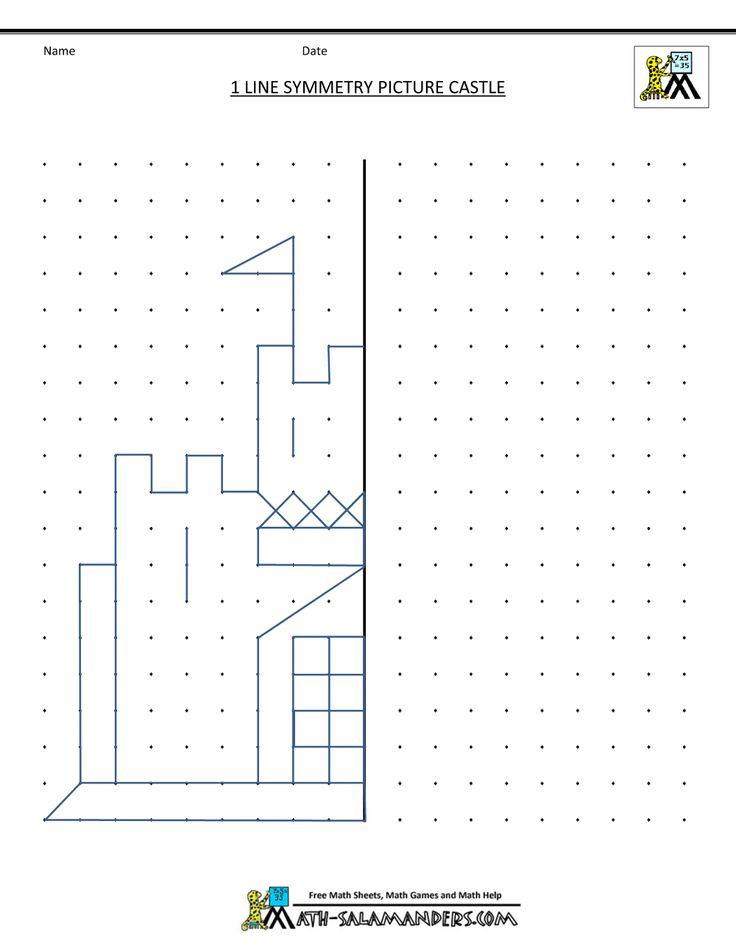 free printable geometry worksheets 1 line symmetry castle
