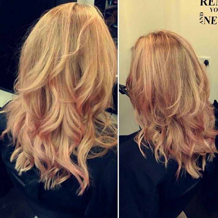#apricot #blonde #balayage #wella #pink #pastel