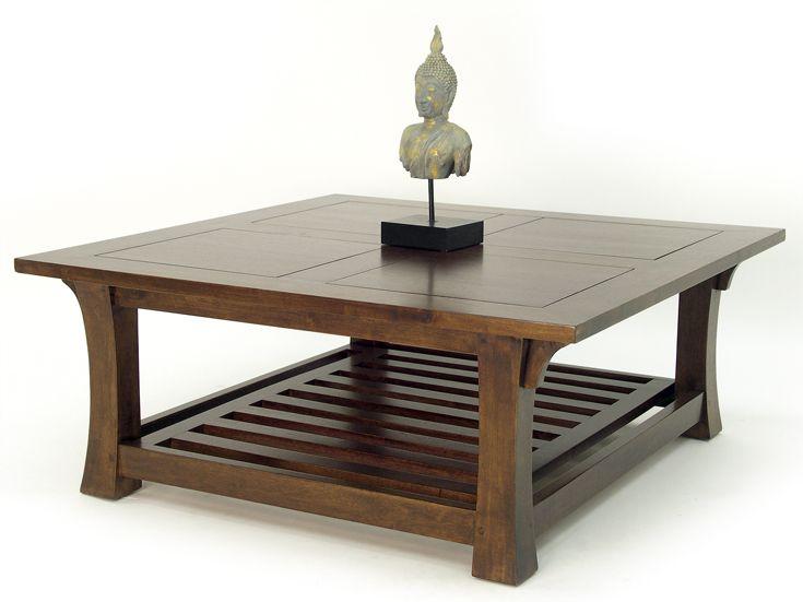 Table Basse Chinoise Hevea Double Plateaux Dont Un Ajoure Et Pieds Galbes 100x100x40cm Maori Modern Furniture Living Room Center Table Living Room Modern Dining Table