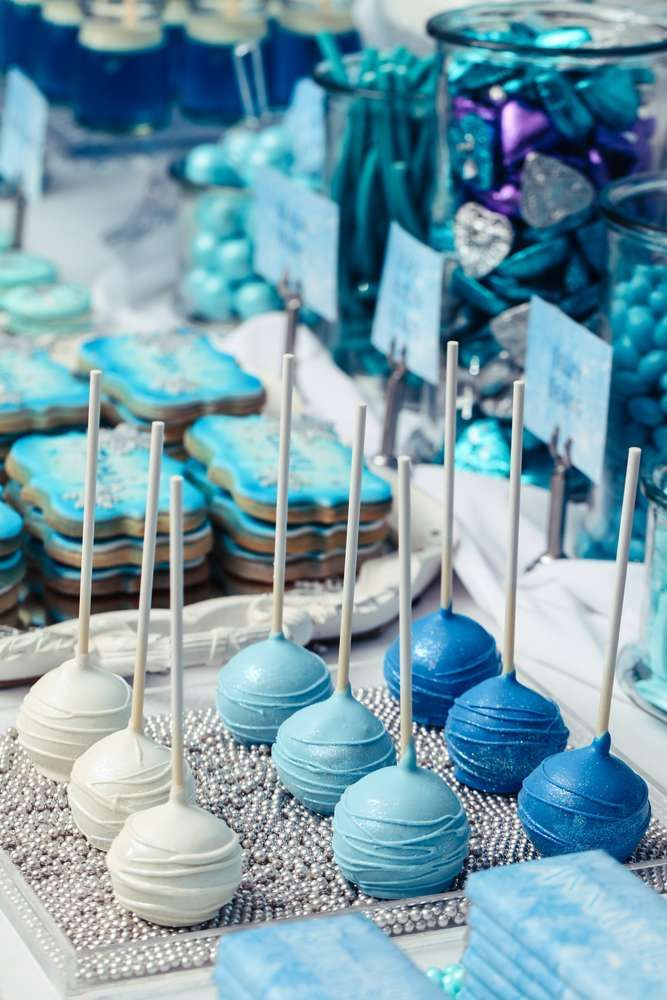 Blue and white cake pops at a Frozen birthday party! See more party ideas at CatchMyParty.com!