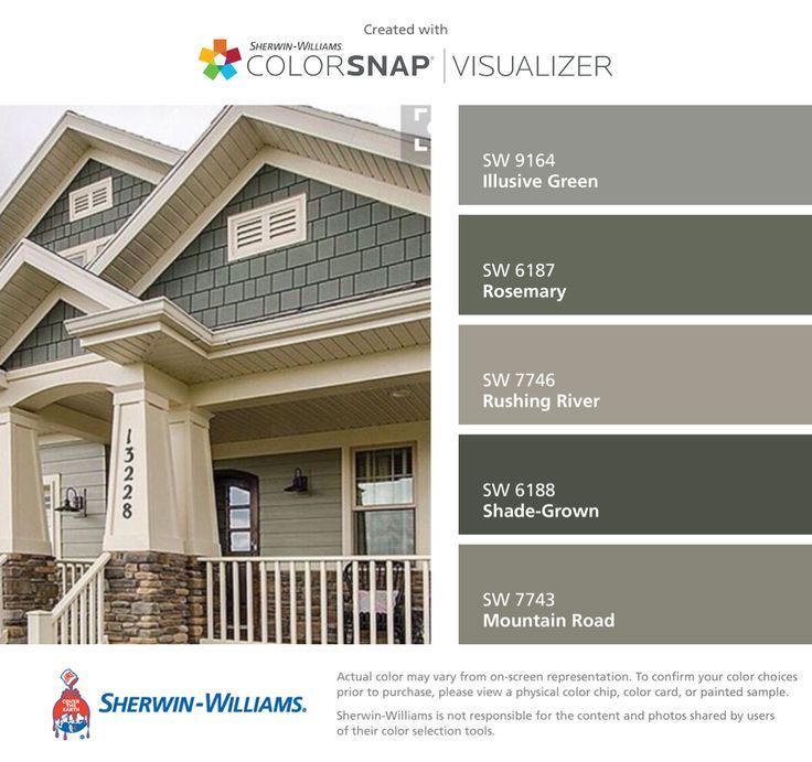 I found these colors with ColorSnap®️️ Visualizer for iPhone by Sherwin-Williams: Illusive Green (SW 9164), Rosemary (SW 6187), Rushing River (SW 7746), Shade-Grown (SW 6188), Mountain Road (SW 7743).