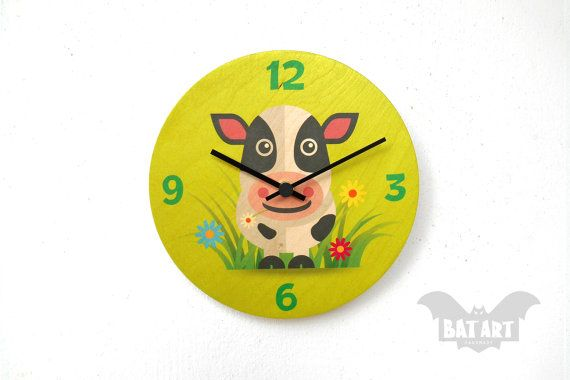 BAT Wall Clock 20cm kids funny cow  Black metal hands  by BatLab