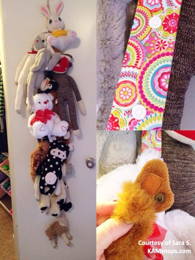 Organize your stuffed animals with KAM snaps! Place one side of a snap on a long strip of ribbon, and the other side of the snap on the stuffed animal (an ear or tail usually work well). Snap the 2 parts together and eventually you'll get an organized hanging chain of stuffed animals. Snaps & installation tool available at www.KAMsnaps.com.