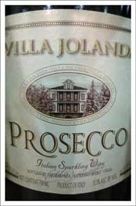 Villa Jolanda Proscecco. Veneto region, Italy. Light, fresh and has just barely a touch of sweetness / fruitiness. Very bubbly.