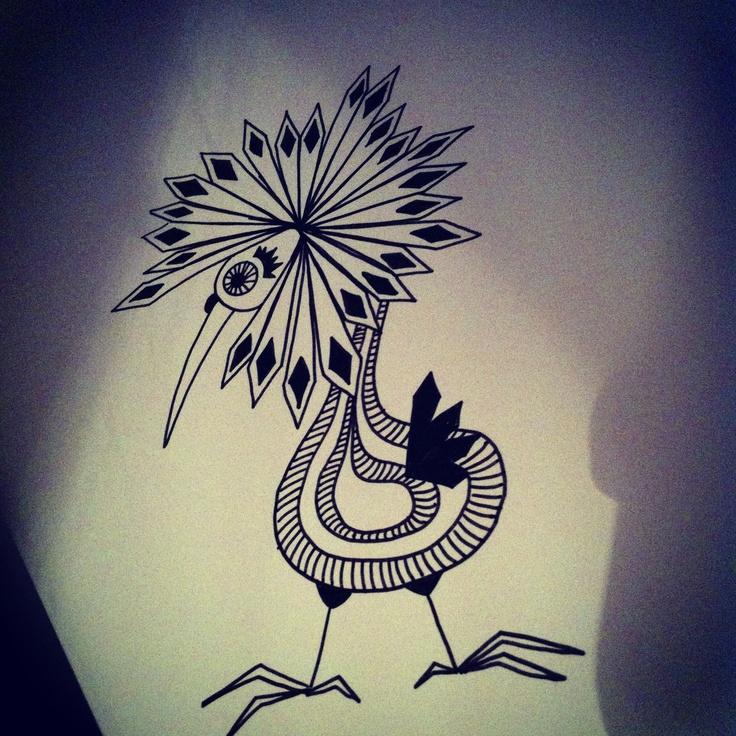 Handdrawn doodle bird. Mosterkaren.blogspot.com