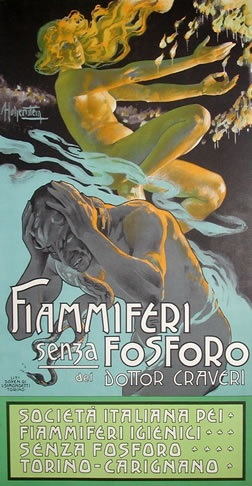 Vintage Italian Posters ~ #illustrator  #Italian #vintage #posters ~ Hohenstein, Adolfo poster: Fiammiferi Senza Fosforo (small)