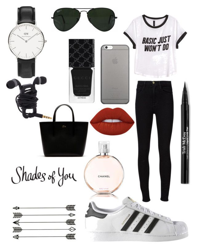 """""""Black and white"""" by loekievanede on Polyvore featuring mode, H&M, Frame Denim, adidas, Ray-Ban, Native Union, Lime Crime, Chanel, Gucci en Trish McEvoy"""