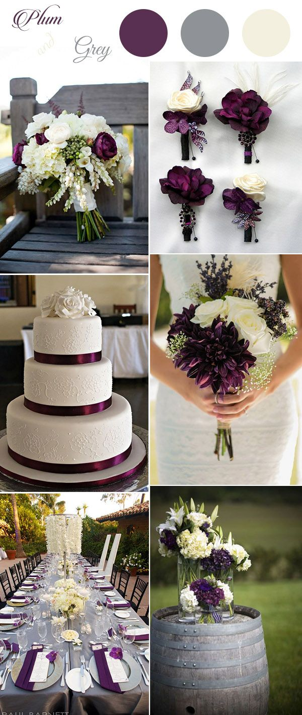 elegant rustic plum,ivory and grey country wedding ideas