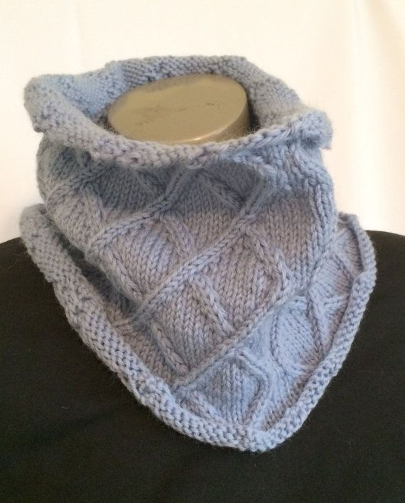 Women's Knit Cowl Blue Knit Cowl Knit Neck Warmer Knit by djfleesh ‪#‎craftshout0208‬