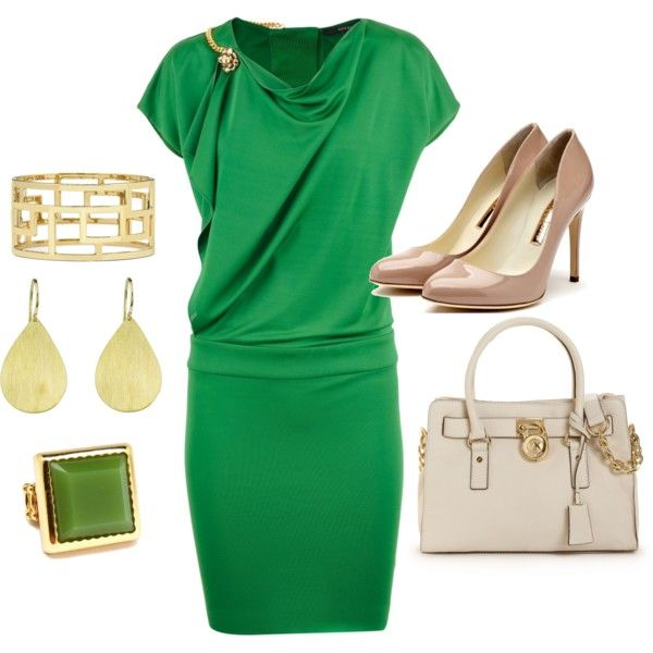 Simply Green, created by desiree-flanagan-nabors on Polyvore: Gucci Dress, Nude Shoes