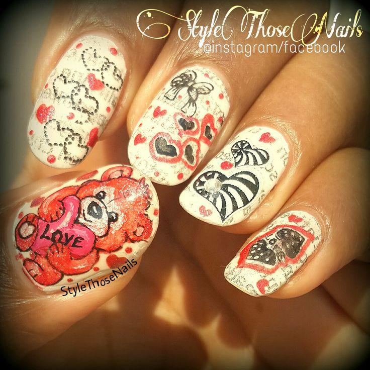 Style Those Nails: Teddy with a Heart - Teddy Bear Nails Tutorial