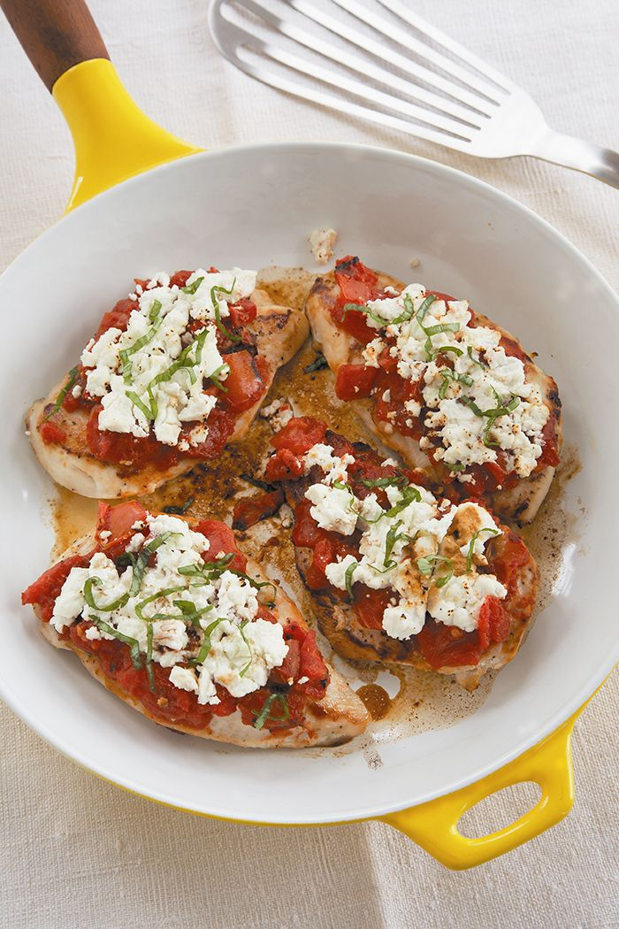 "Chicken Breasts with Goat Cheese and Fire-Roasted Tomatoes #recipe courtesy of @Devin Alexander Chef of NBC's ""The Biggest Loser"""
