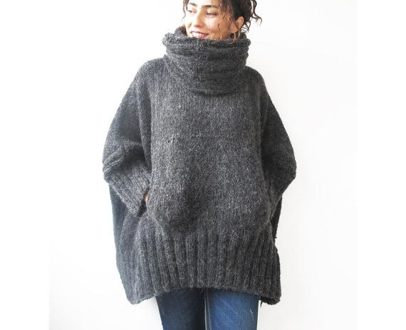 Dark Gray Hand Knitted Poncho with Accordion Hood and Pocket Plus Size Over Size Tunic - Dress by Afra