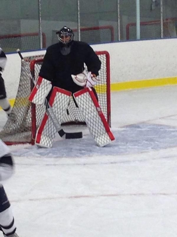 Pretty confusing pads, huh? Advantage goaltender!