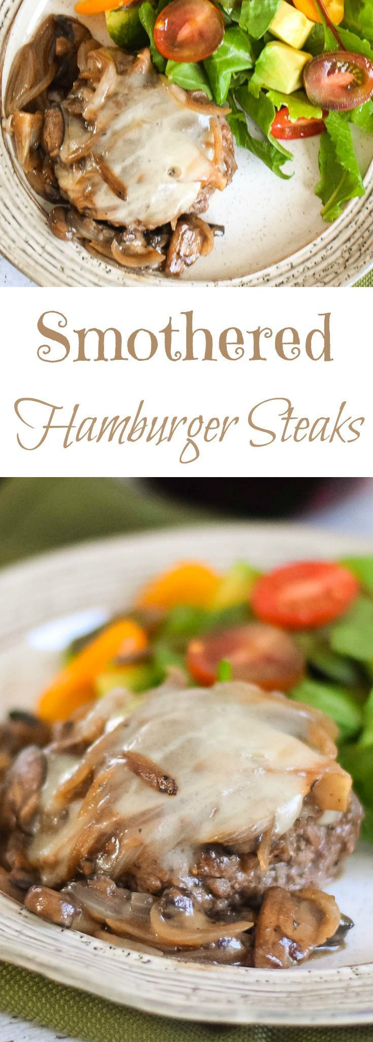 Smothered Hamburger Steaks -Sweet onions cooked to a caramel goodness, topped with sauteed mushrooms and cheese covered lean hamburger! #SundaySupper