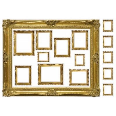 Grand Sticker Cadres or. Gold is chic and those frames will give an antique look to your gallery wall! DIY by creating your own art picture with http://stickers.plage.fr/142-stickers-personnalises and frame them with those woden gold effect frames!