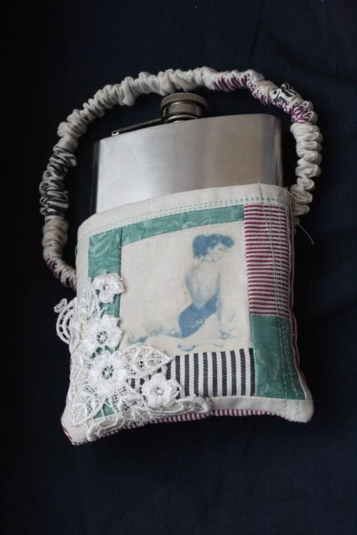 A homemade, pin-up, patchwork flask garter | @offbeatbride