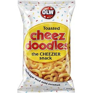 Cheese doodles with mild cheese flavour. Perfect party snack.