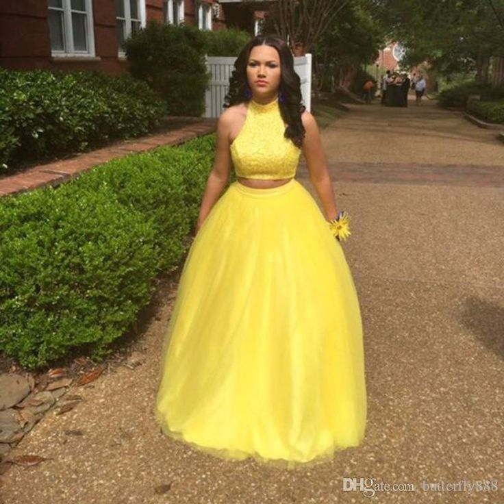 Sexy Long Yellow Two Piece Prom Dresses 2017 New Arrive High Neck Lace Tulle A Line Cheap Prom Dress Formal Party Gowns Online with $111.56/Piece on Butterfly888's Store | DHgate.com