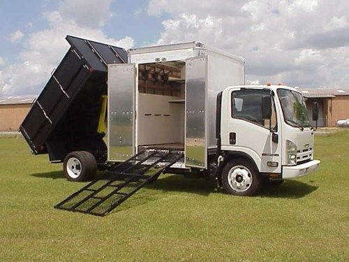 www.superlawntrucks.com superboxtruckramps.com  Isuzu truck with a Dump Body on the back and one MR-750 ramp on the side for easy unloading and loading  #debrisdumper #dumptruck #loadingramp #boxtruck #isuzu