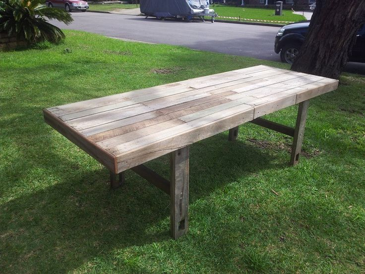 Large  rustic fence timber dining table.