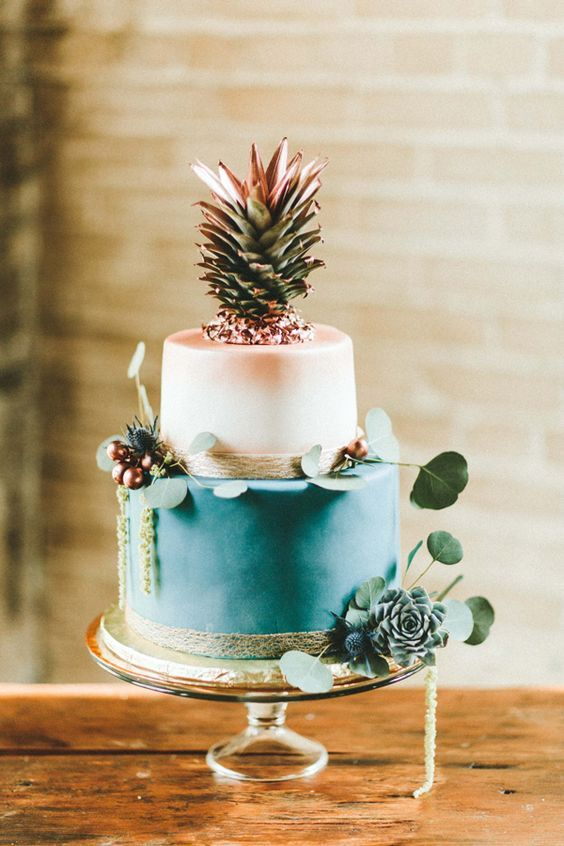 teal and copper cake with pineapple topper #weddingcake #cakes: