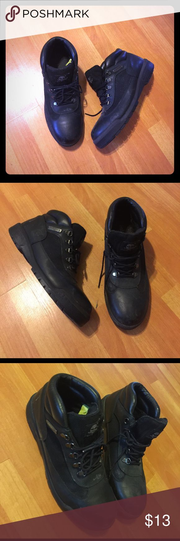Timberland sz 12 All black timberland size 12 in men these are old. Still have a lot of life left. Don't Need them. Great for work boots. Original yellow greenish tag is still on the inside Timberland Shoes Boots