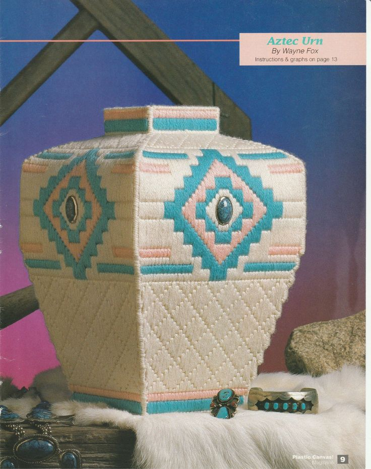 Aztec/Southwestern Vase in Plastic Canvas by TamarasTraditions on Etsy
