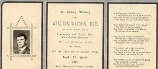 Ancestors At Rest: Funeral Card William Hay, Scotland 1904-1924