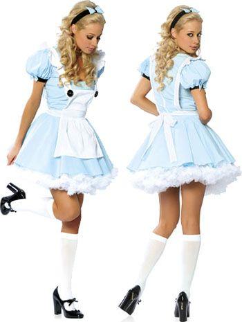 Alice in Wonderland Costume -Blue Dress -Short, White Apron -White knee-highs -Headband -Black shoes
