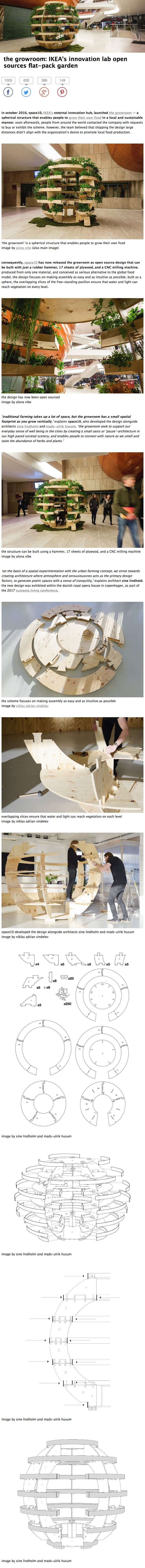 the growroom: IKEA's innovation lab open sources flat-pack garden // The growroom has a small spatial footprint as you grow vertically. space10 has now released the growroom as open source design that can be built with just a rubber hammer, 17 sheets of plywood, and a CNC milling machine.