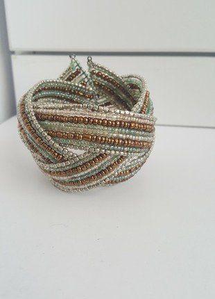 Kup mój przedmiot na #vintedpl http://www.vinted.pl/akcesoria/bizuteria/17067768-bransoletka-koraliki-pullbear-turkus-miedz-boho