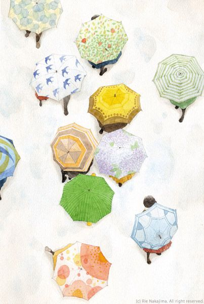 watercolorFashion Illustration Rain, Watercolors Painting Ideas, Drawing Of Umbrellas, Inspiration, Fashion Models, Art, Prints And Pattern To Drawing, Rie Nakajima, Illustration Watercolors