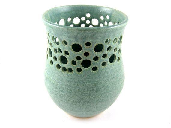 Modern lace vase, Utensil Crock, mint green vase, wedding gift - in stock