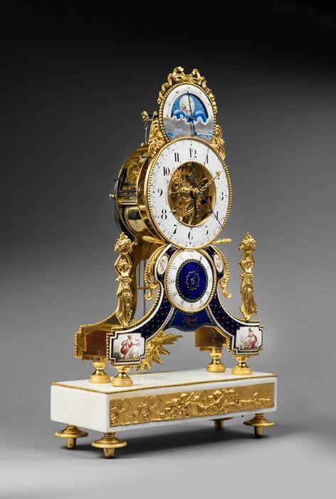 c1795 Joseph Revel - Rare Gilt Bronze, Enamel and White Carrara Marble Skeleton Clock, Directory period