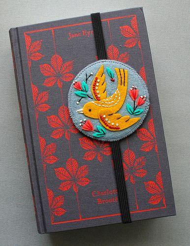 Embroidered felt bookmark