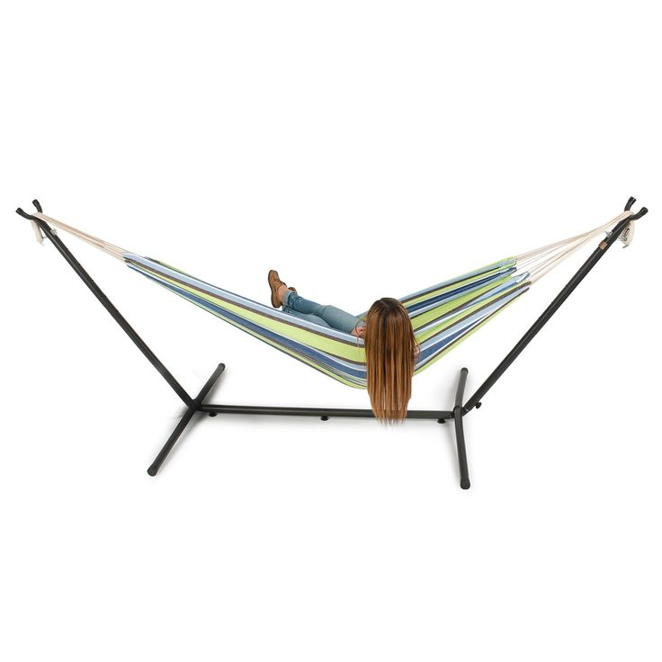Belleze 10ft Double Hammock Stand with Carrying Bag, Portable Set, Oasis, Multi (Cotton), Patio Furniture