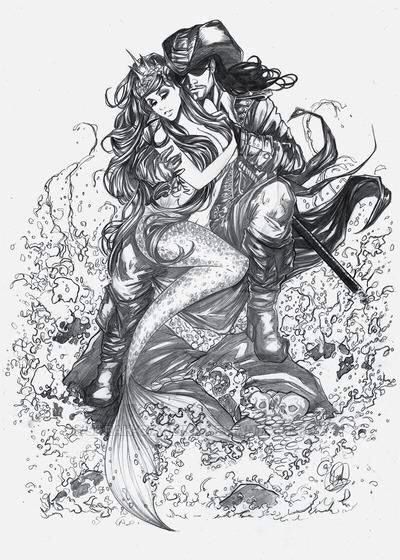 Mermaid and pirate with sculls flowing out at the bottom