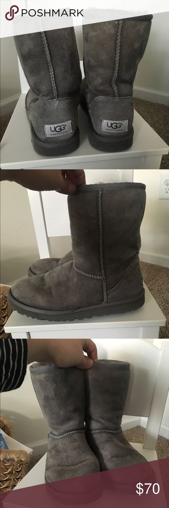 Authentic classic short UGGs Gray, size W5- fits a 6 1/2 or 7. These are NOT brand new but the price reflects that. They are still in pretty good shape and the new owner will get lots of good wear out of them. The only reason I'm selling is because they don't fit me anymore, after having my baby. UGG Shoes