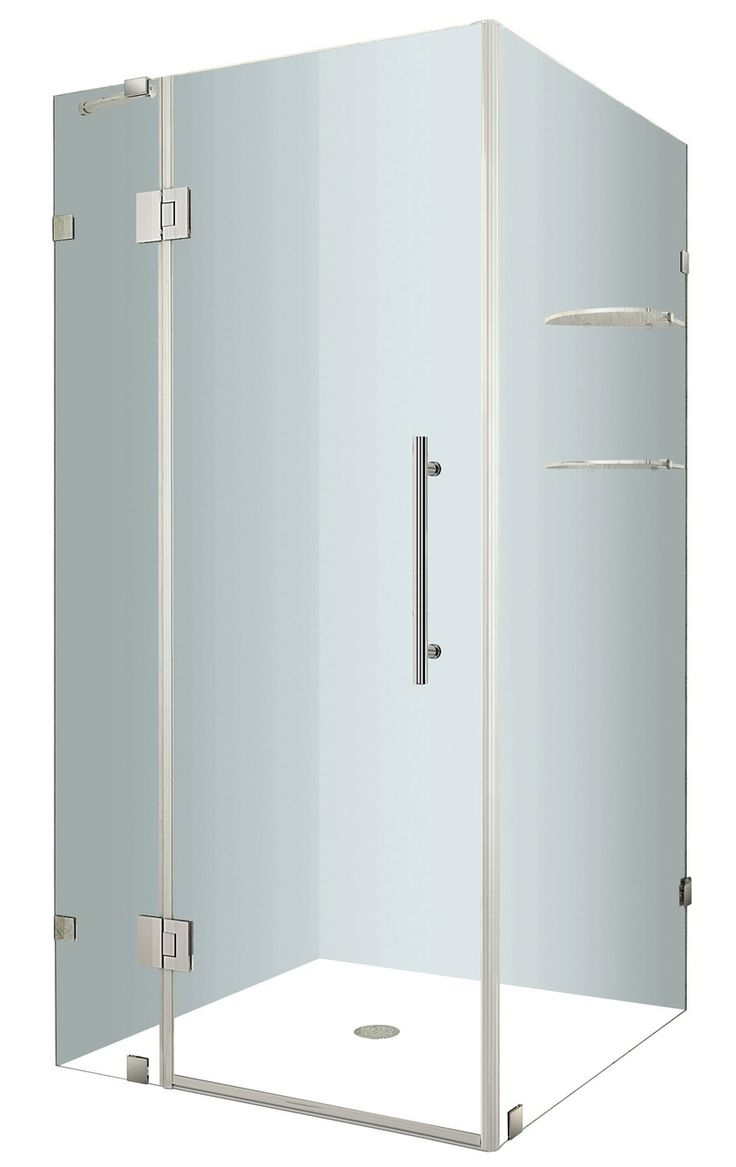 Merlyn 8 series sliding door amp inline panel - Aston Sen992 Avalux Gs Completely Frameless Square Rectangular Shower Enclosure With Shelves Http